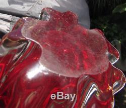 Stunning Vintage Murano Heavy Art Glass Vase Ruby Red