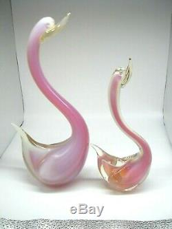 Stunning vintage Murano Cenedese Seguso sommerso opalescent glass swan 1 of 2