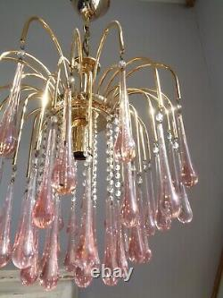 Stunning vintage Murano Paolo Venini chandelier pink glass drops