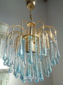 Stunning vintage Murano Paolo Venini chandelier rare blue glass drops