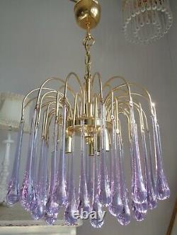 Stunning vintage Murano Paolo Venini chandelier rare purple glass drops
