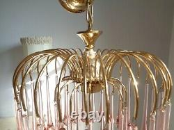 Stunning vintage Murano chandelier pink glass drops