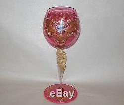 Superb Venetian Murano Cranberry Vase 13 1/2 h. Semi Nudes Italy Vtg