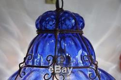 Superb Vintage Murano Venetian Cobalt Blue Glass Lantern Bohemian Ceiling Light