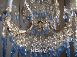 Superb vintage murano glass chandelier blue opaline drops