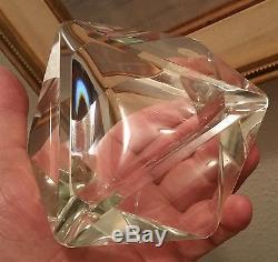 TRIANGLE MID CENTURY modern cut crystal glass table art geode ashtray vtg murano