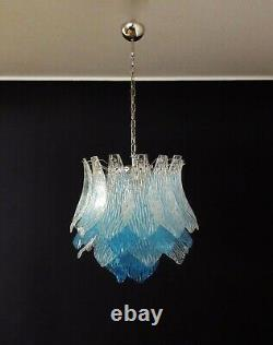 Talian vintage Murano Glass chandelier 38 glasses blue and trasparent