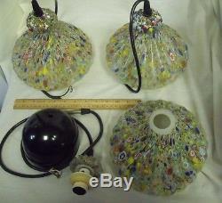Three (3) Vintage Murano/Millifiore Art Glass Mini Pendant Shades Complete