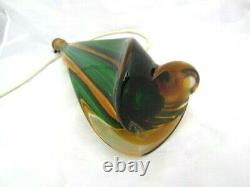 Toso / Poli MCM Murano hand blown sommerso glass table lamp green & golden amber