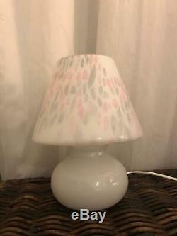 Two Murano Mushroom Venice glass lamp Confetti Italy Vintage