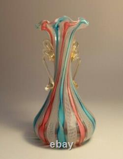 VINTAGE 1960's MURANO GOLD FLAKES LATTICINO COLOURFUL RIBBON VASE ITALIAN GLASS