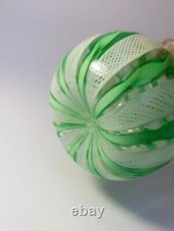 VINTAGE 1960's MURANO VENETIAN LATTICINO GREEN RIBBON VASE URN ITALIAN ART GLASS