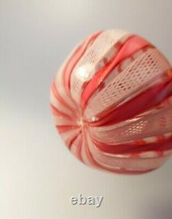 VINTAGE 1960's MURANO VENETIAN LATTICINO PINK RIBBON VASE JUG ITALIAN ART GLASS