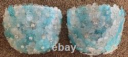 VINTAGE 50's BAROVIER TOSO WALL SCONCE LIGHT BLUE GLASS FLOWERS MURANO LAMP