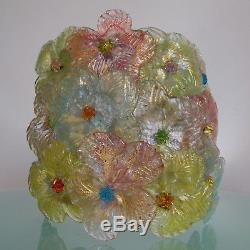 VINTAGE 50's BAROVIER TOSO WALL SCONCE LIGHT COLORFUL GLASS FLOWERS MURANO LAMP