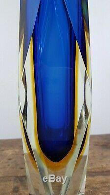 VINTAGE 60's BLUE ORANGE FLAVIO POLI FACETED SOMMERSO MURANO GLASS VASE BOWL