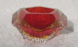 VINTAGE 60s ITALIAN MURANO SOMMERSO GLASS VASE/BOWL CAMPANELLA MANDRUZZATO