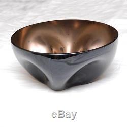 VINTAGE ALFREDO BARBINI Signed Murano Italian Art Glass Black Glass Bowl