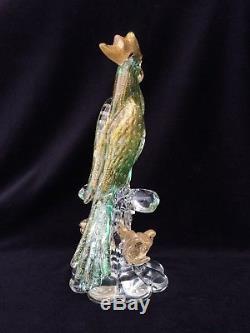 VINTAGE FORMIA Murano Glass Bird Green and Gold Cockatoo Bird Mid Century Modern