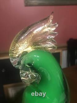 VINTAGE Italian MURANO GLASS Green PARROT BIRD 13 Tall WithSticker