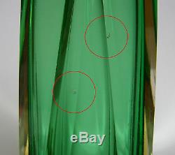 VINTAGE MID CENTURY ITALIAN MURANO SOMMERSO VENETIAN ART GLASS FACETED VASE 60's