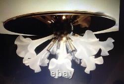 VINTAGE MURANO FLUSH MOUNT CHANDELIER Brass Frosted Art Glass Lily Sputnik 24