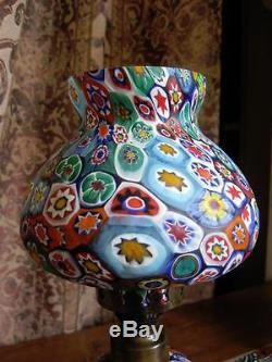 VINTAGE MURANO ITALY MURRINE MILLEFIORI GLASS OIL LAMP K&B Hand Blown 11 MINT