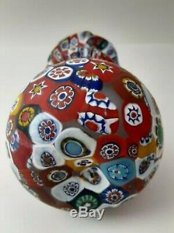 VINTAGE MURANO MILLEFIORI ART GLASS VASE 5.3 x 3.3 PERFECT