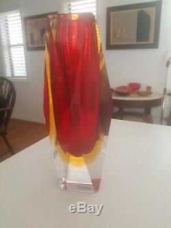VINTAGE MURANO faceted GLASS VASE MANDRUZZATO sommerso flavio poli mid century