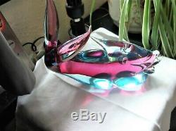VINTAGE SOLID HEAVY GLASS MURANO FISH SUPERB COLOURS BLUE CLEAR CERISE 1376g