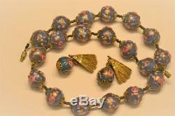 VINTAGE VENETIAN MURANO GLASS WEDDING CAKE NECKLACE with RARE MATCHING EARRINGS