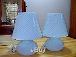 VINTAGE Venini Vetri PAIR MURANO GLASS Grey SWIRLS MUSHROOM LAMPS ITALY 15 tal