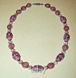 VTG Antique VENETIAN Murano PINK WEDDING CAKE Sommerso GLASS Bead NECKLACE