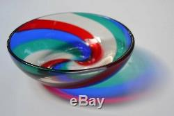VTG FULVIO BIANCONI VENINI MURANO BOWL Fasce Ritorte Glass Spiral Stripe
