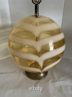 VTG Italian Striped Glass Globe Ball Lamp Murano Era Massive 16 Diam. MCM HUGE