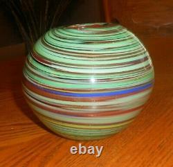 VTG MURANO ITALY ART GLASS VASE/BOWL GREEN & AVENTURINE GOLD SWIRLS w RED LINING