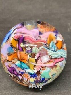 VTG Marble Signed DOUG SWEET Karuna Art Glass Murano Dichroic Paperweight