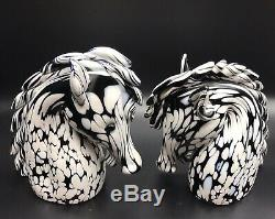 VTG Murano Archimede Seguso Black White Horse Heads Figurine Glass Mid century