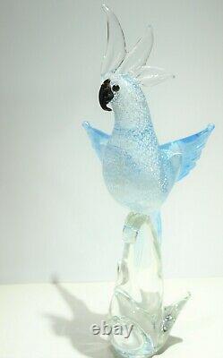 VTG Murano Bird Formia Italy Art Glass Sculpture Cockatoo Silver Blue MCM Modern
