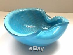 VTG Murano Bullicante Ashtray Barbini Blue Sommerso Aventurine Art Glass Bowl