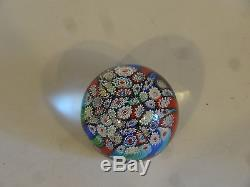 VTG Murano Paperweight Millefiori Italy Seguso Blown Glass Flowers Signed E