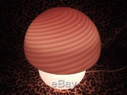 VTG Murano light Pink Swirl Mushroom Glass Globe Lamp Vetri Venini 12H x 9W