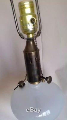 VTG PINK Glass Lamp Hand Blown Opaline Table WHITE Font Marble Brass Art Murano