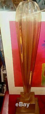 VTG XL Murano ITALIAN ART GLASS TALL Ribbed LAMP 1950's BAROVIER & Toso SUGUSO