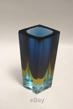 Vaso monofiore vetro sommerso murano glass flavio poli mandruzzato vintage