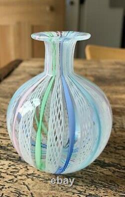 Venetian Latticino Ribbon Twist Glass Vase Murano Barovier Toso Venini Vintage