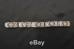 Venetian Murano Millefiori Glass Bracelet Mosaic Silver Plate Vintage