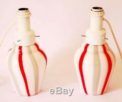 Venini Pair Murano Art Glass Lamp Vetri Italian Vintage Swirl Vignelli Vistosi