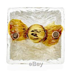 Venini-Style Pair of'Quilt' Amber Glass Wall Lamps 1970s Vintage Murano