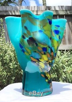 Vibrant Vintage Aqua Green Blue Murano End Of Day Splatter Art Glass Vase Bowl